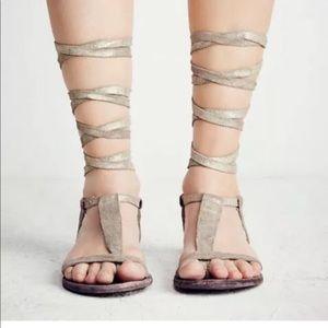 Free people gold gladiator sandals 36 6